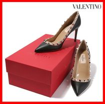 VALENTINO Studded Street Style Plain Leather Pin Heels Elegant Style