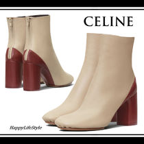 CELINE Round Toe Bi-color Plain Leather Block Heels Elegant Style