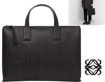 LOEWE Unisex Plain Leather Business & Briefcases