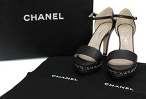 CHANEL Open Toe Leather Peep Toe Pumps & Mules