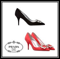 PRADA Suede Plain Pin Heels Party Style With Jewels
