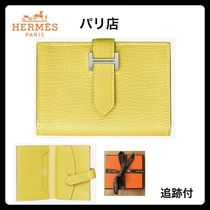 HERMES Bearn Monogram Plain Leather Folding Wallets