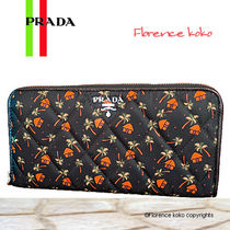 PRADA Tropical Patterns Unisex Nylon Blended Fabrics Long Wallets