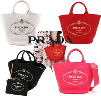 PRADA CANAPA Canvas A4 2WAY Plain Totes
