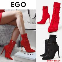 EGO Studded Plain Pin Heels Elegant Style Ankle & Booties Boots