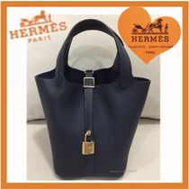 HERMES Picotin Casual Style Calfskin Plain Purses Totes