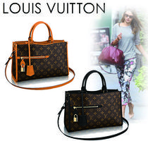 Louis Vuitton POPINCOURT Monogram Casual Style Canvas Blended Fabrics A4 2WAY Totes