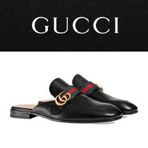 GUCCI Princetown Stripes Blended Fabrics Street Style Plain Leather