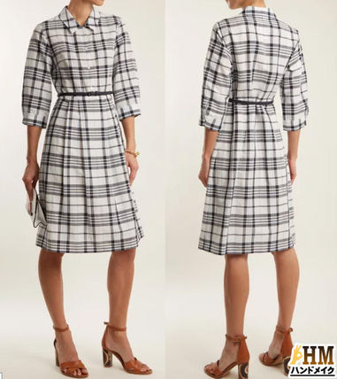 Gingham Other Check Patterns Puffed Sleeves V-Neck Medium