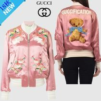 GUCCI Short Flower Patterns Casual Style Other Animal Patterns