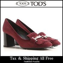 TOD'S Suede Plain High Heel Pumps & Mules
