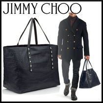 Jimmy Choo Star Camouflage Crocodile Studded A4 Totes