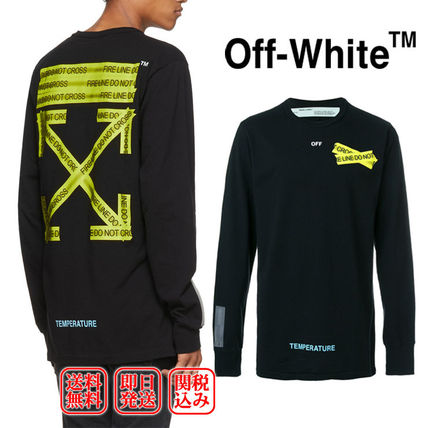 91b0f1d27f5 Off-White 2018 SS Crew Neck Pullovers Unisex Street Style Long Sleeves  Cotton (OFF WHITE FIRETAPE TEMPERATURE