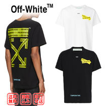 Off-White Crew Neck Pullovers Unisex Street Style Cotton Short Sleeves