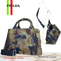 PRADA CANAPA Camouflage Casual Style Unisex Canvas A4 2WAY Totes