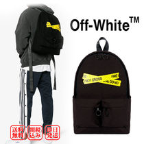 Off-White Unisex Cambus Street Style A4 Backpacks