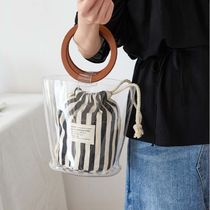 Casual Style Street Style 2WAY PVC Clothing Straw Bags