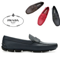PRADA Driving Shoes Plain Toe Plain Leather Loafers & Slip-ons