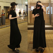 Crew Neck Maxi Street Style Plain Long Short Sleeves