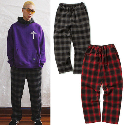 Printed Pants Gingham Unisex Street Style Cotton