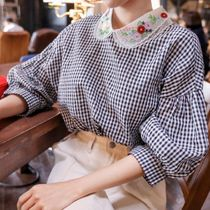 Gingham Casual Style Puffed Sleeves Cotton Medium