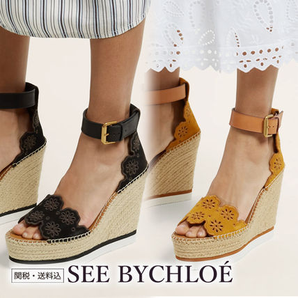 Flower Patterns Open Toe Casual Style Suede Heeled Sandals