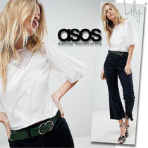 ASOS Casual Style Puffed Sleeves Plain Lace Shirts & Blouses