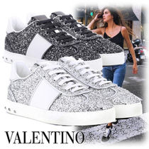 VALENTINO Rubber Sole Studded Street Style Leather Low-Top Sneakers