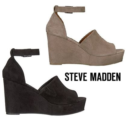 efbef95d606 ... Steve Madden Platform   Wedge Open Toe Casual Style Suede Street Style  Plain ...