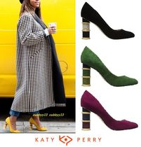 Katy Perry Round Toe Casual Style Suede Street Style Plain Block Heels