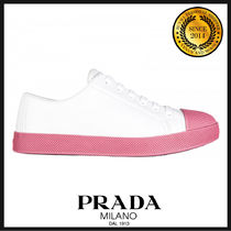 PRADA Round Toe Rubber Sole Casual Style Bi-color Leather