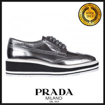 PRADA Round Toe Rubber Sole Casual Style Leather