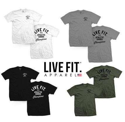 Live Fit More T-Shirts Street Style U-Neck Plain Cotton Short Sleeves Khaki