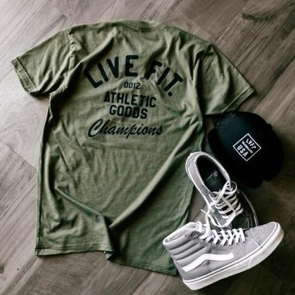 Live Fit More T-Shirts Street Style U-Neck Plain Cotton Short Sleeves Khaki 15