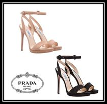 PRADA Open Toe Casual Style Suede Plain Pin Heels Heeled Sandals