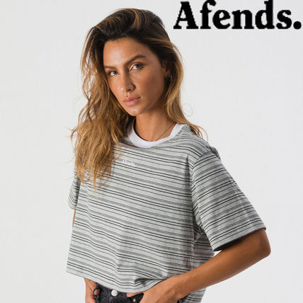 Short Stripes Cotton Short Sleeves Cropped