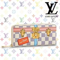 "Louis Vuitton DAMIER 18AW ""Clemence"" Damier Azur Printed Canvas Long Wallet"