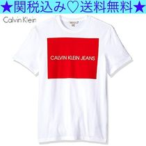 Calvin Klein CK CALVIN KLEIN Crew Neck Pullovers Bi-color Cotton Short Sleeves