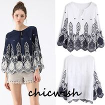 Chicwish Blended Fabrics Medium Lace Elegant Style Shirts & Blouses