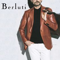 Berluti Short Street Style Plain Leather Handmade Biker Jackets