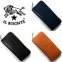 IL BISONTE Plain Leather Long Wallets