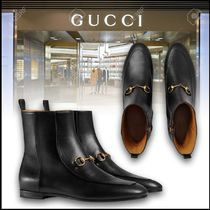 GUCCI Jordaan Casual Style Plain Leather Flat Boots