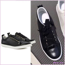 LANVIN Round Toe Rubber Sole Casual Style Plain Leather