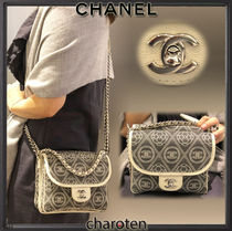 CHANEL ICON Flower Patterns Cambus Blended Fabrics 3WAY Bi-color Chain