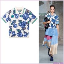MARNI Flower Patterns Casual Style Blended Fabrics Short Sleeves