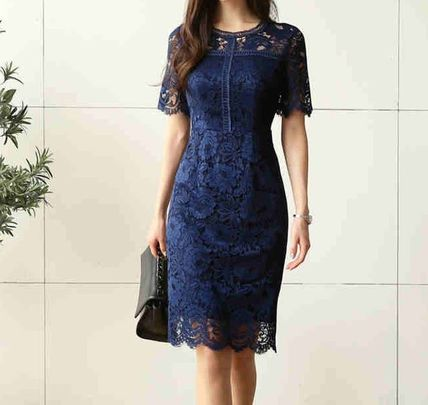 Flower Patterns Plain Medium Short Sleeves Lace Dresses