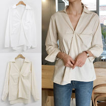 Street Style Long Sleeves Plain Cotton Medium Elegant Style