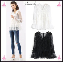 Chicwish Long Sleeves Plain Medium Lace Elegant Style