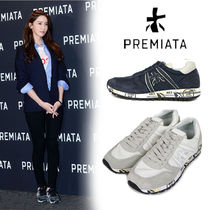 PREMIATA Platform Plain Toe Lace-up Casual Style Blended Fabrics