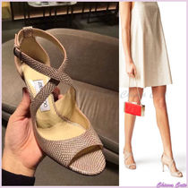 Jimmy Choo Other Check Patterns Open Toe Plain Leather Pin Heels